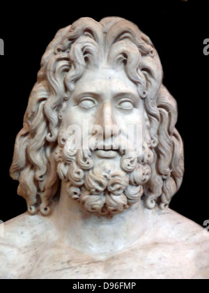 Colossal marble sculpture of the head of Zeus. From Tivoli, found in the villa of the Roman Emperor Hadrian. - Stock Photo