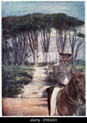 Cecil John Rhodes(1852-1902) English-born South African statesman. Rhodes riding in the grounds of Groote Schuur. - Stock Photo
