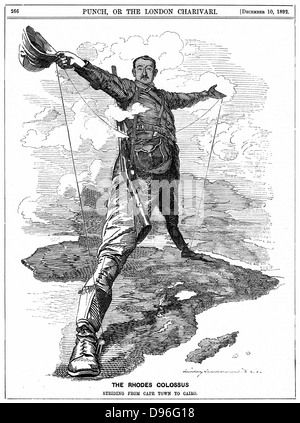 Cecil John Rhodes (1852-1902) English-born South African statesman. The Rhodes Colossus striding from Cape Town - Stock Photo
