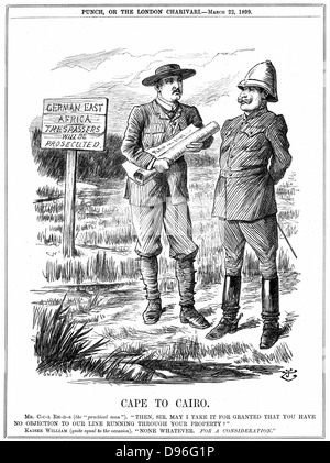 Cecil John Rhodes (1852-1902) English-born South African statesman, asking the German emperor for permission to - Stock Photo