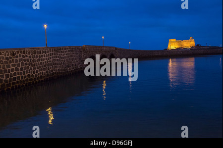 Bridge to Castillo de San Gabriel, Arrecife, Lanzarote, Canary Islands, Spain - Stock Photo
