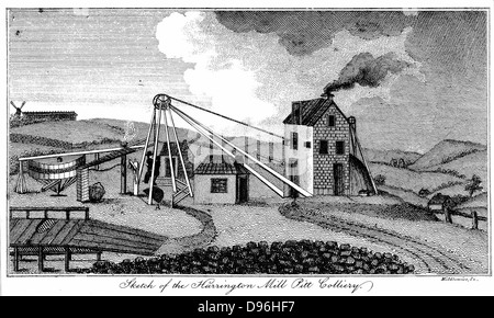 Harrington Pit Mill Colliery. Early 19th century pit head, showing steam engine house, the energy source for winding - Stock Photo