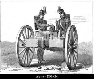 Montigny mitrailleuse, rapid fire gun introduced by French during the Franco-Prussian War 1870-18 71. 37 barrels, - Stock Photo
