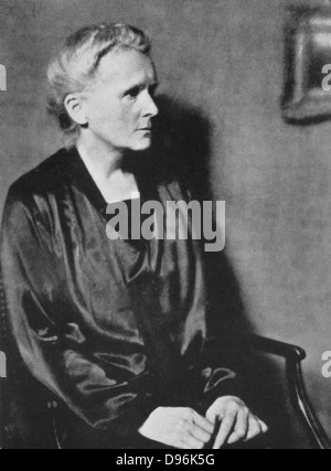 Marie Curie (1867-1934) Polish-born French physicist in 1929. - Stock Photo