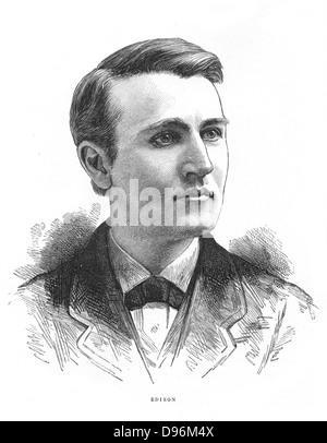 Thomas Alva Edison (1847-1931) American inventor. Engraving c1880 - Stock Photo