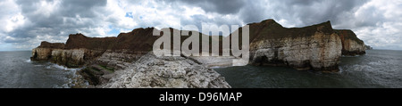 Thornwick Bay, Flamborough Panorama. - Stock Photo
