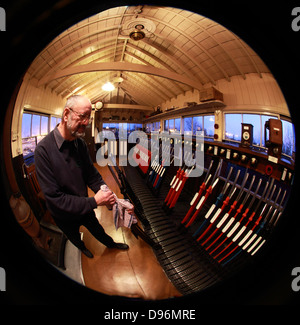 Evening with the levers in the Exeter West signalbox, Crewe, fisheye view - Stock Photo
