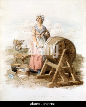 Women making butter. Wooden churn, pail, form, etc. From William Henry Pyne 'Costume of Great Britain', London 1808. - Stock Photo