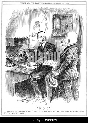 Mr Punch thanking Marconi for wireless telegraphy which was saving lives at sea. Leonard Raven-Hill cartoon from - Stock Photo