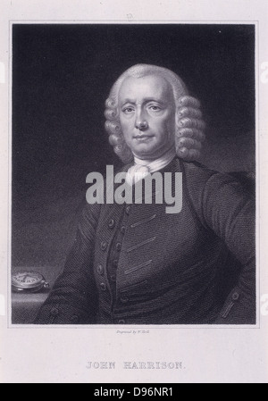 John Harrison (1693-1776) English clockmaker.  On the table at his elbow is his No 4 chronometer with which he won - Stock Photo