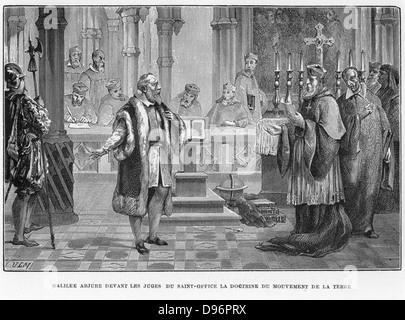 Galileo Galilei (1564-1642) Italian astronomer, mathematician and physicist.   Here he is facing the Inquisition, - Stock Photo