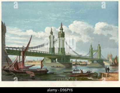Chelsea Bridge, London. Suspension bridge over  the Thames, opened in 1858, connecting Chelsea with Battersea on - Stock Photo