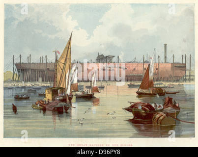 Great Eastern' on the stocks in John Scott Russell's (1808-1882) yard at Millwall on the Thames. Broadside view - Stock Photo