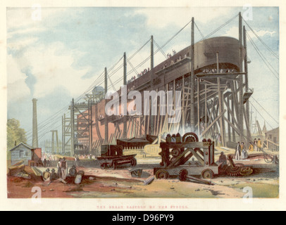 Great Eastern' on the stocks in John Scott Russell's (1808-1882) yard at Millwall on the Thames. View from the stern. - Stock Photo