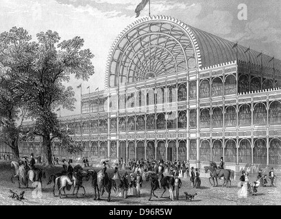 Exterior of the North Transept of the Crystal Palace, London, at the time of the Great Exhibition of 1851.  Steel - Stock Photo