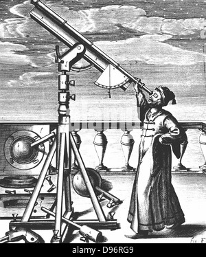 Hevelius observing through refracting telescope on stand fitted with quadrant and plumb-bob so altitude of object - Stock Photo
