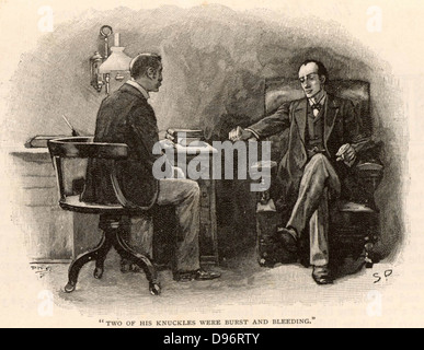 The Adventure of the Final Problem'. Sherlock Holmes calling on Dr Watson to ask for his help to defeat his adversary, - Stock Photo
