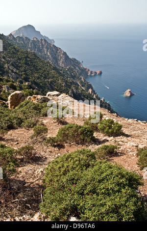 Looking towards the cliffs Capo Rosso and the Gulf of Porto in the Mediterranean, near Porto, on the west coast - Stock Photo