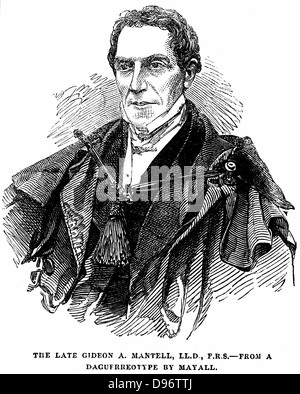 Gideon Algernon Mantell (1790-1852) English geologist who, in 1820, discovered the Iguanodon and deduced from its - Stock Photo