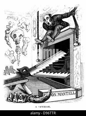 A Sawrian: cartoon on Gideon Mantell (1790-1852) the English geologist who discovered a suarian, the Iguanodon, - Stock Photo