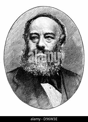 James Prescott Joule (1818-1889) English physicist. Mechanical equivalent of heat (J). Engraving c1895. - Stock Photo