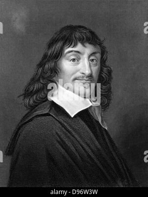 Rene Descartes (1596-1650) French mathematician and philosopher. Engraving after portrait by Frans Hals - Stock Photo