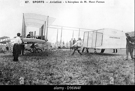 Henri Farman (1874-1958), French aviator and aircraft constructor. Farman's biplane No 1. From a photograph. - Stock Photo