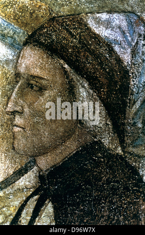 Dante Alighieri' (1265-1321) Italian poet: portrait by Giotto di Bondone (1266 or 1267-1321) Italian artist. - Stock Photo