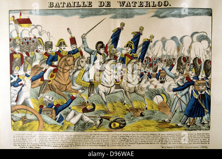 Napoleon at the Battle of Waterloo, 18 June 1815. Popular French hand-coloured woodcut. - Stock Photo