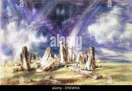 Stonehenge' c1835: John Constable (1776-1837) English landscape painter.Watercolour. - Stock Photo