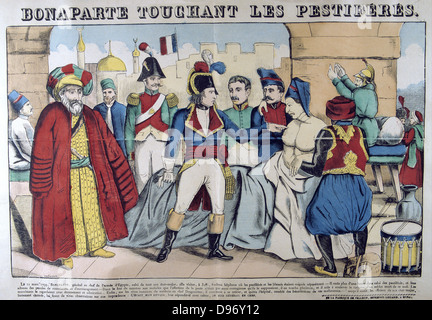 Napoleon I in the Pesthouse at Jaffa touching plague victims, 11 March 1799.. Propaganda story putting him on the - Stock Photo