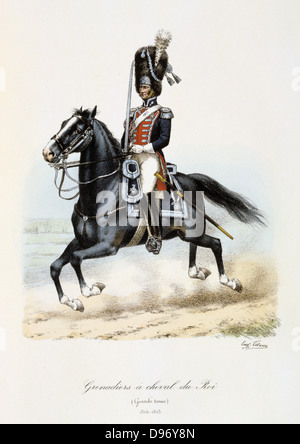 Royal Mounted Black Grenadier, 1814-1815. From 'Histoire de la maison militaire du Roi de 1814 a 1830' by Eugene - Stock Photo