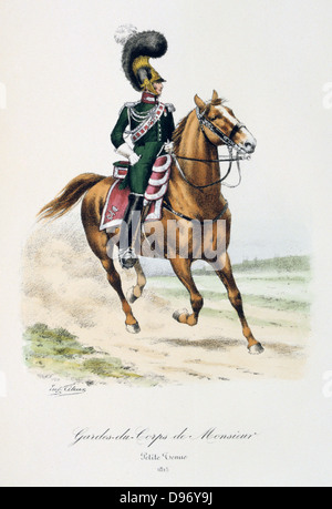 Mounted officerof the bodyguard of the heir to the throne. From 'Histoire de la maison militaire du Roi de 1814 - Stock Photo