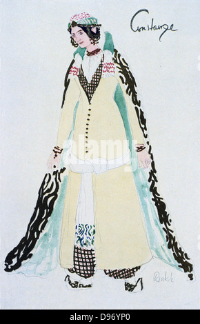 Costume for Constanze c1913. Constanze, a Spanish lady betrothed to Belmonte, a Spanish nobleman, is held captive - Stock Photo