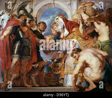 Abraham and Melchisedech'. Peter Paul Rubens (1577-1640) Flemish painter. Oil on canvas - Stock Photo