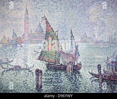 Venice; the Green Sail' 1804. Paul Signac (1863-1935) French painter. Oil on canvas. - Stock Photo