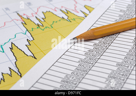 finance business calculation with pencil on chart - Stock Photo