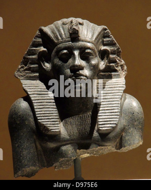 Head of a statue of King Amenemhet 111with king's head-cloth,12th Dynasty about 1840 - Stock Photo