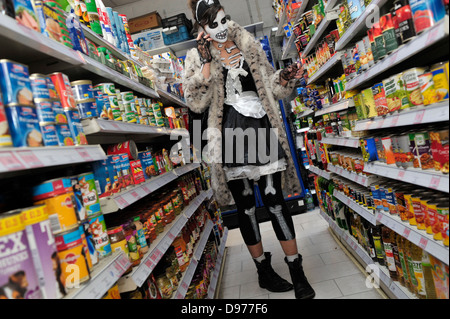 Taking Halloween as their prompt, London's Brick Lane and surrounding Shoreditch really pushed the boat out last - Stock Photo