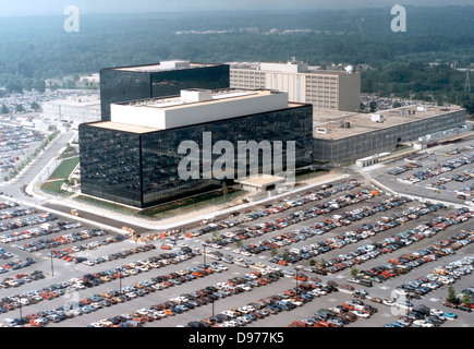 Aerial view of the headquarters of the National Security Agency or NSA in Fort Meade, MD. - Stock Photo