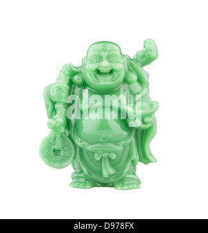 statue of smiling fat Buddha with money, the symbol of wealthy - Stock Photo