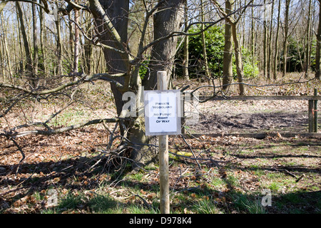 Sign for private woodland with no public right of way, Sutton, Suffolk, England - Stock Photo