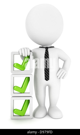3d white people checklist, isolated white background, 3d image - Stock Photo