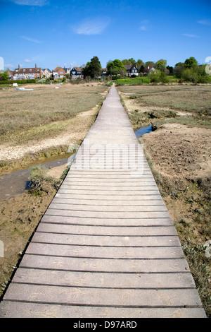 Boardwalk across saltings, West Mersea, Mersea Island, Essex, England - Stock Photo