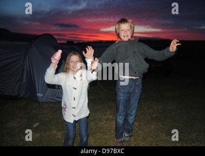 Happy campers - Stock Photo