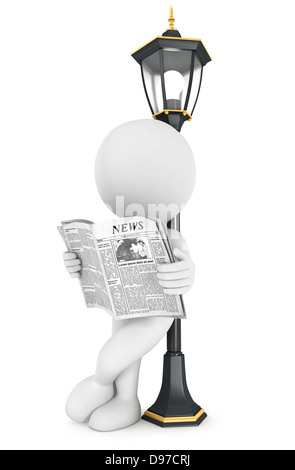 3d white people reading newspaper, leaning back against a street lamp, isolated white background, 3d image - Stock Photo