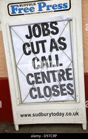 Local newspaper announce job cuts, Suffolk Free Press, Sudbury, England - Stock Photo