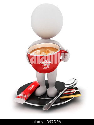3d white people takes a coffee break, isolated white background, 3d image - Stock Photo