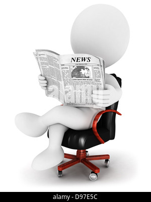 3d white people reading a newspaper, sitting on a leather chair, isolated white background, 3d image - Stock Photo