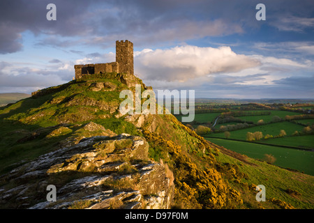 Brentor Church, high on a Dartmoor outcrop, Devon, England. Spring (April) 2009. - Stock Photo
